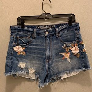 American Eagle Embroidered High-Waisted Shorts
